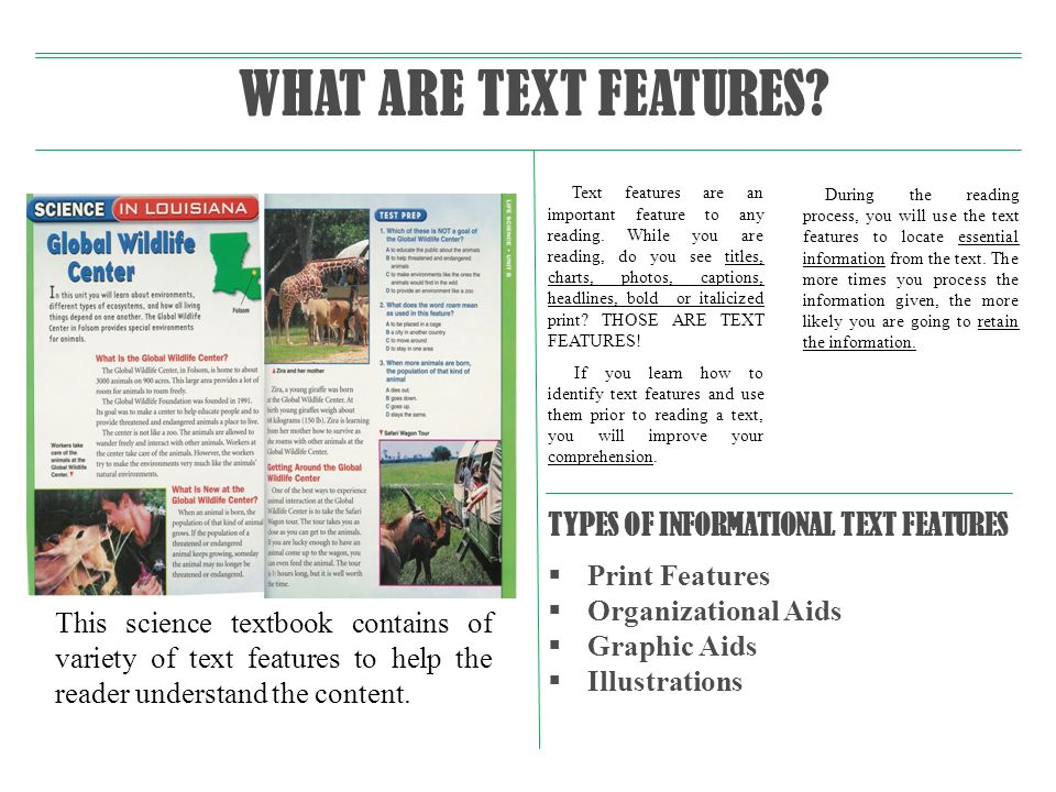 WHAT ARE TEXT FEATURES TYPES OF INFORMATIONAL TEXT FEATURES