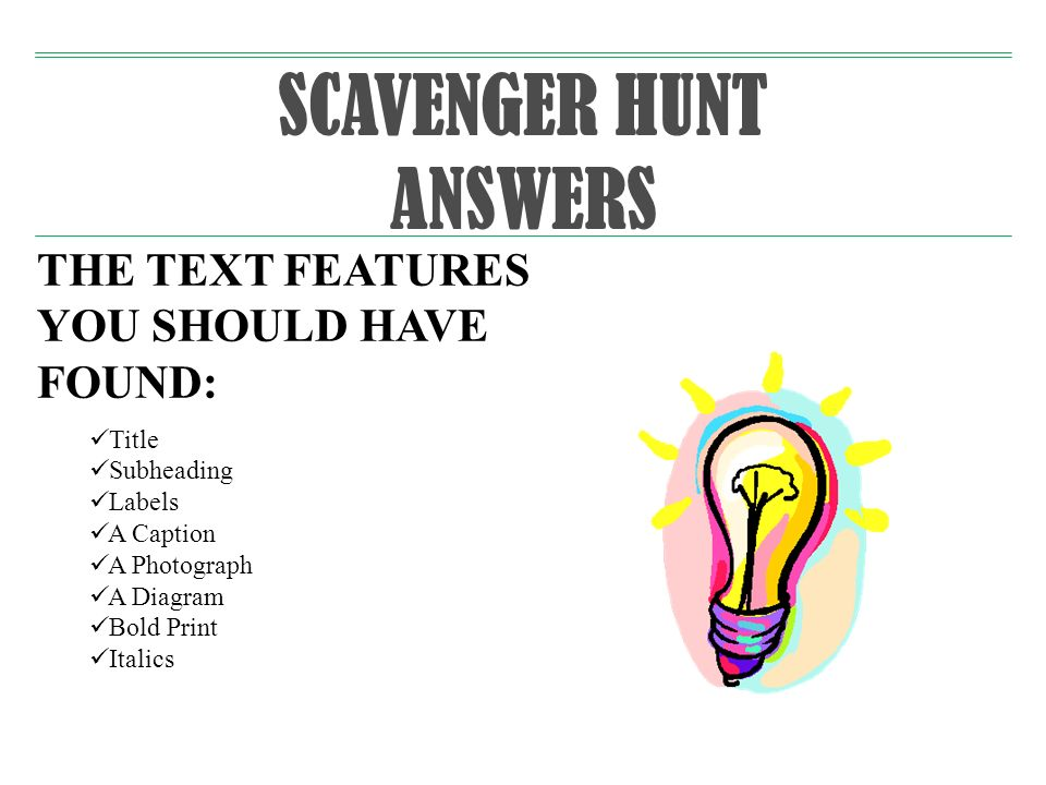 SCAVENGER HUNT ANSWERS