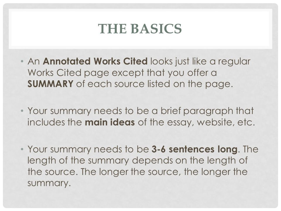 Annotated Works Cited Page Ppt Video Online Download. The Basics An Annotated Works Cited Looks Just Like A Regular Page Except That. Worksheet. Worksheet For Works Cited Page At Mspartners.co