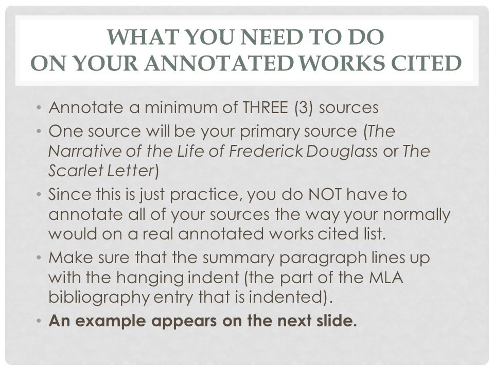 What You Need To Do On Your Annotated Works Cited