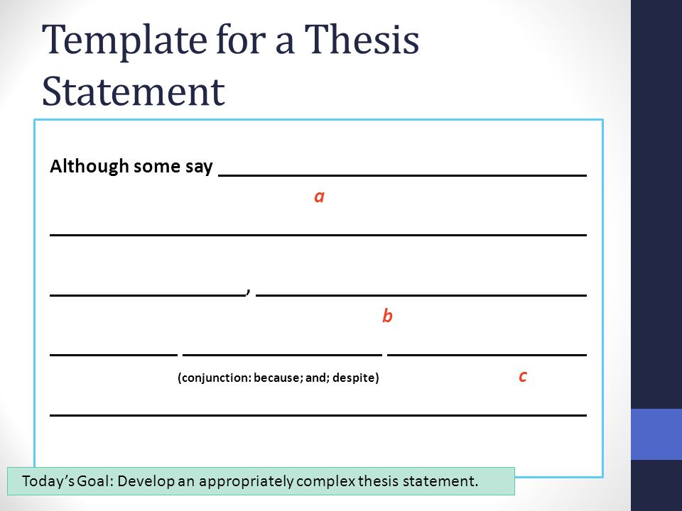 template for a thesis statement