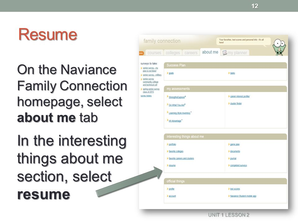Resume Naviance Family Connection Ppt Video Online Download