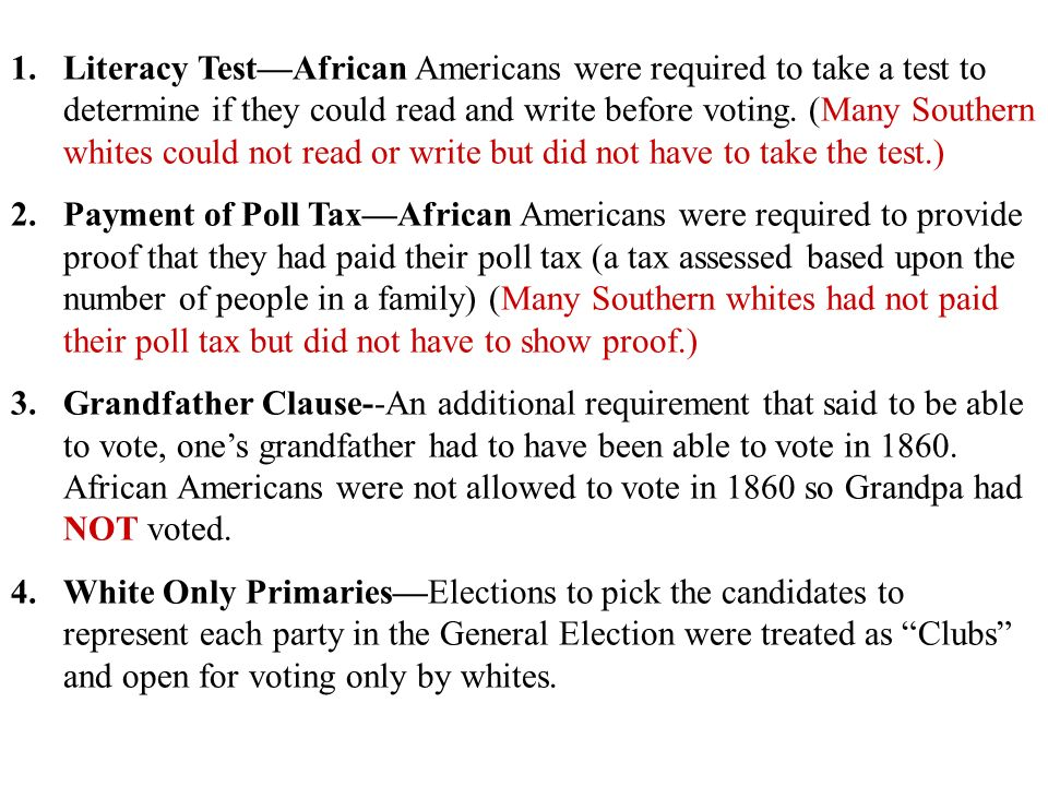 Disenfranchisement Jim Crow And Plessy V Ferguson Ppt Download