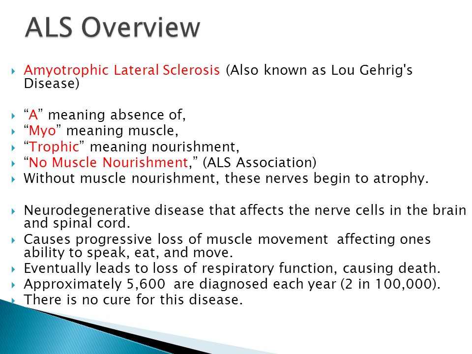 an analysis of amyotropic lateral sclerosis The invention provides a method for treating amyotrophic lateral sclerosis in a patient which comprises administering to the patient an effective amount of a non.