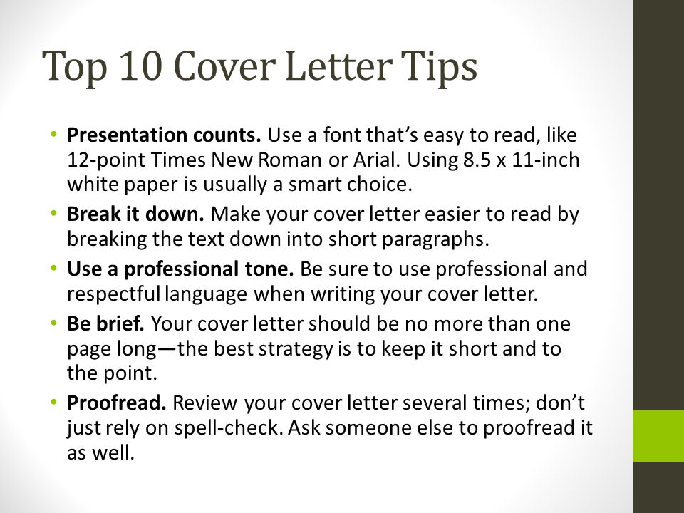 Top 10 Cover Letter Tips