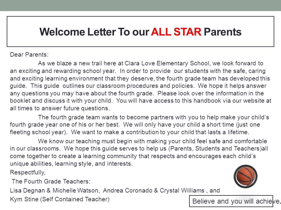 welcome letter to our all star parents
