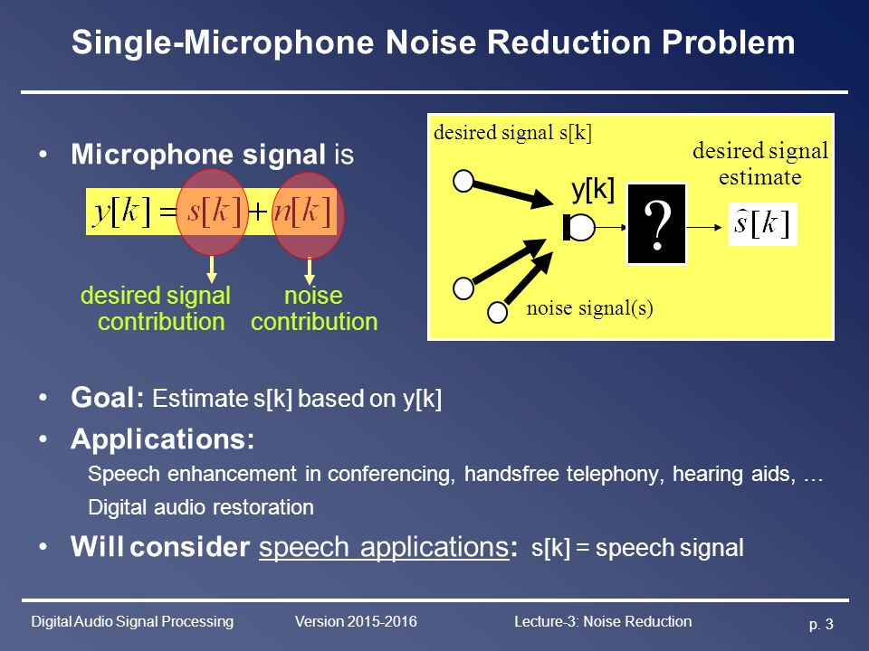 Digital Audio Signal Processing Lecture-3 Noise Reduction - ppt