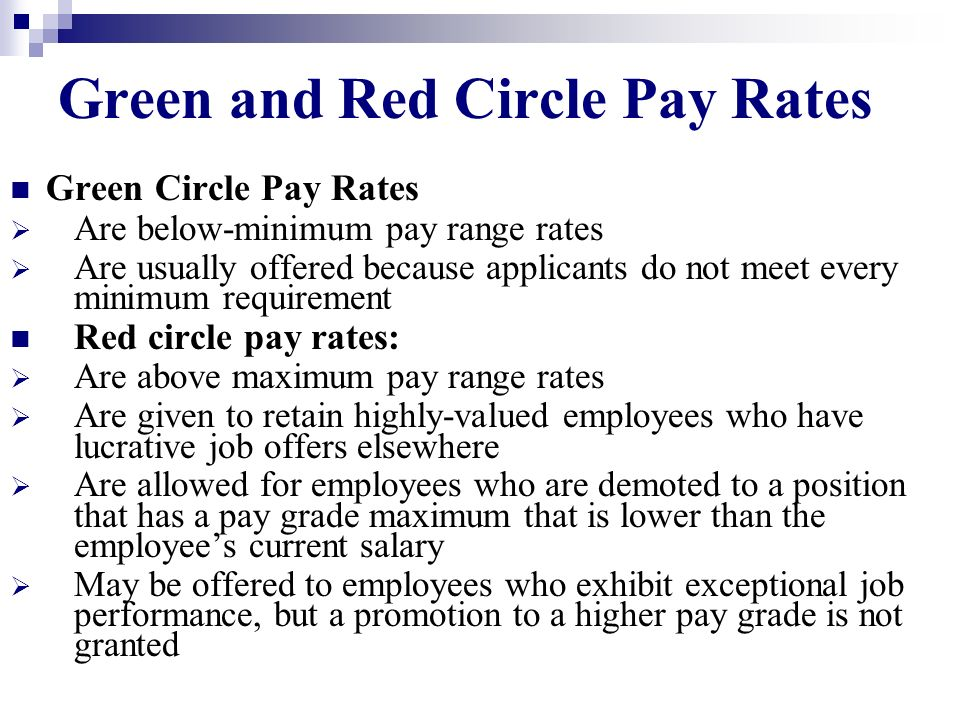 Green and Red Circle Pay Rates