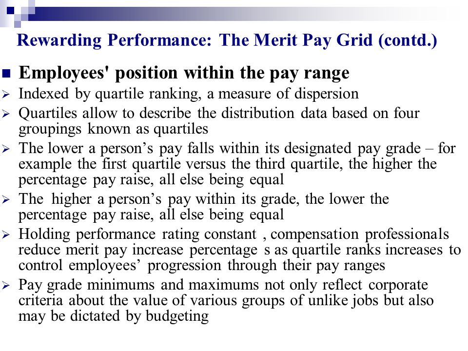 Rewarding Performance: The Merit Pay Grid (contd.)
