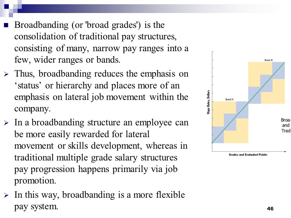 Broadbanding (or broad grades ) is the consolidation of traditional pay structures, consisting of many, narrow pay ranges into a few, wider ranges or bands.