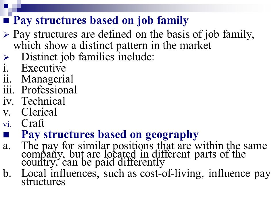 Pay structures based on job family