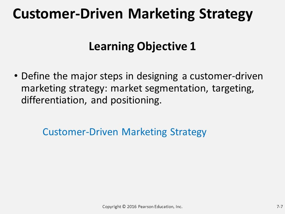 four major steps in designing a customer driven marketing strategy