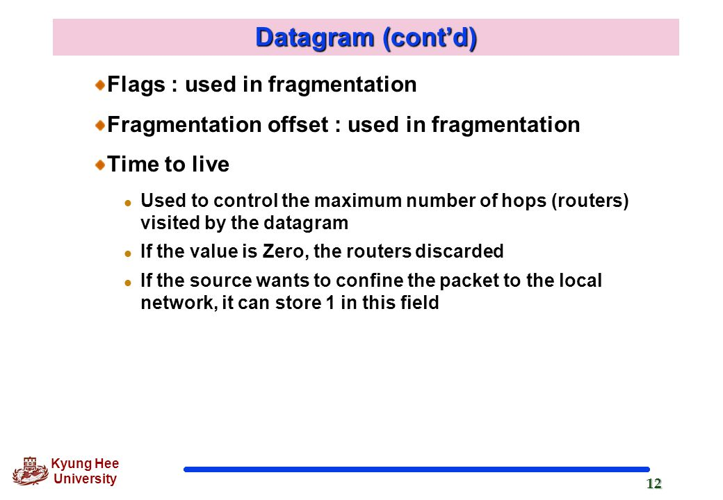 Datagram (cont'd) Flags : used in fragmentation