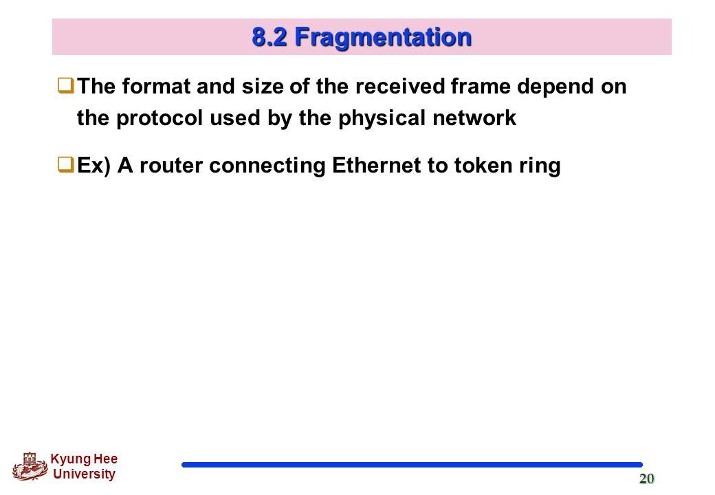 8.2 Fragmentation The format and size of the received frame depend on the protocol used by the physical network.