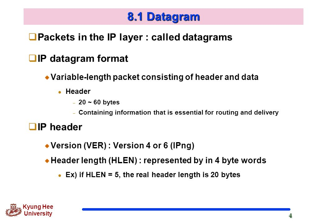 8.1 Datagram Packets in the IP layer : called datagrams