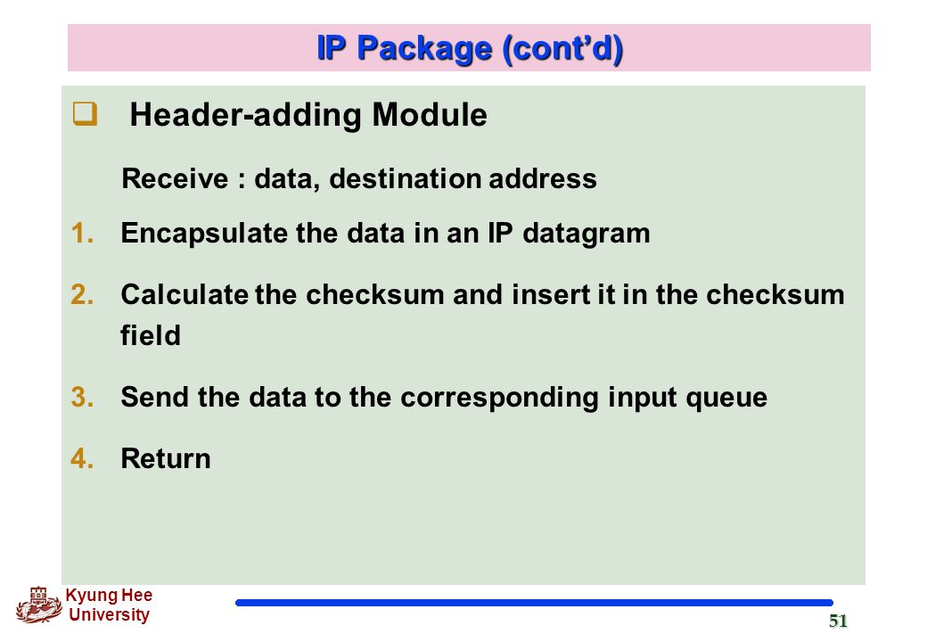 IP Package (cont'd) Header-adding Module