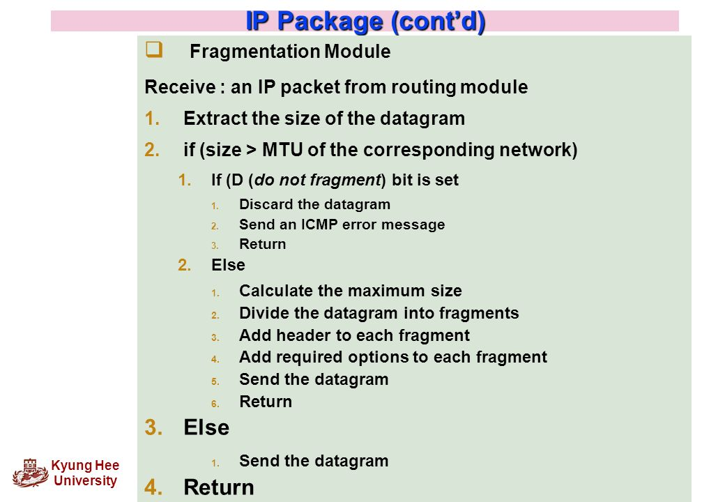 IP Package (cont'd) Fragmentation Module