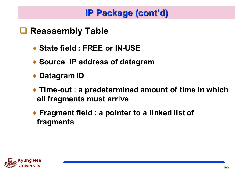 IP Package (cont'd) Reassembly Table State field : FREE or IN-USE