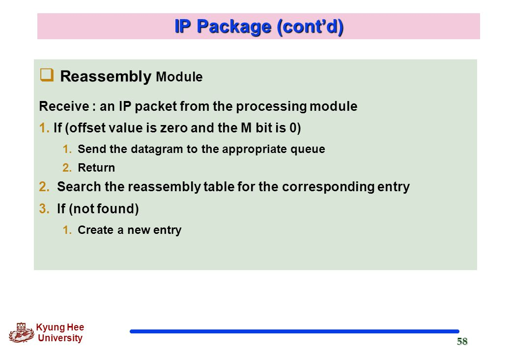 IP Package (cont'd) Reassembly Module