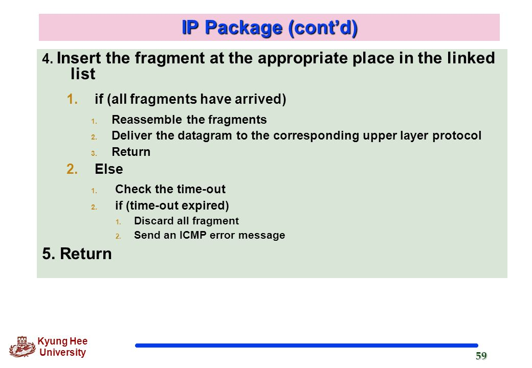 IP Package (cont'd) 5. Return