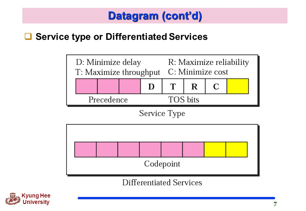 Datagram (cont'd) Service type or Differentiated Services
