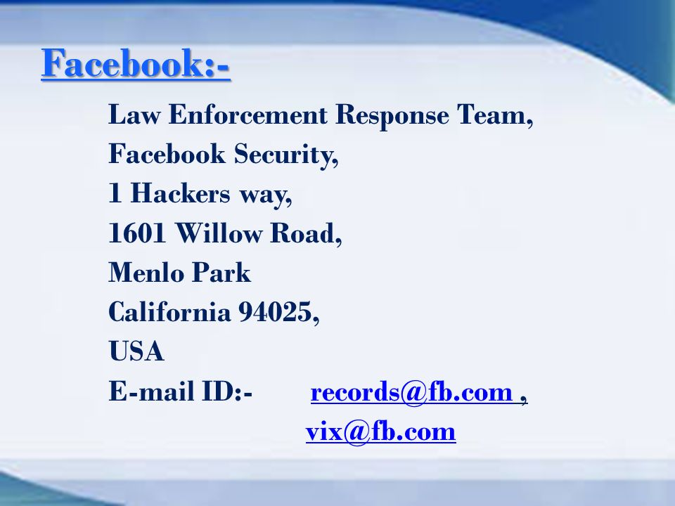 INVESTIGATION INTO FACEBOOK RELATED CRIME