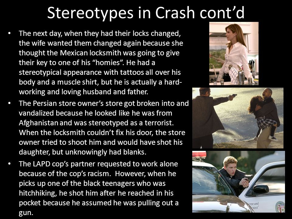 examples of stereotypes in the movie crash