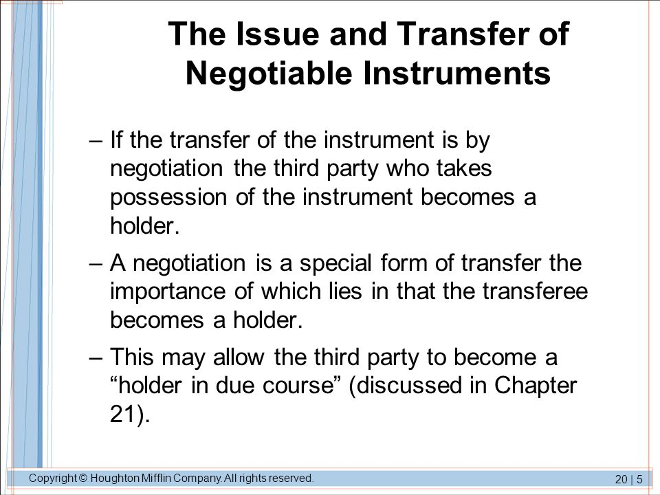 transfer of negotiable instruments