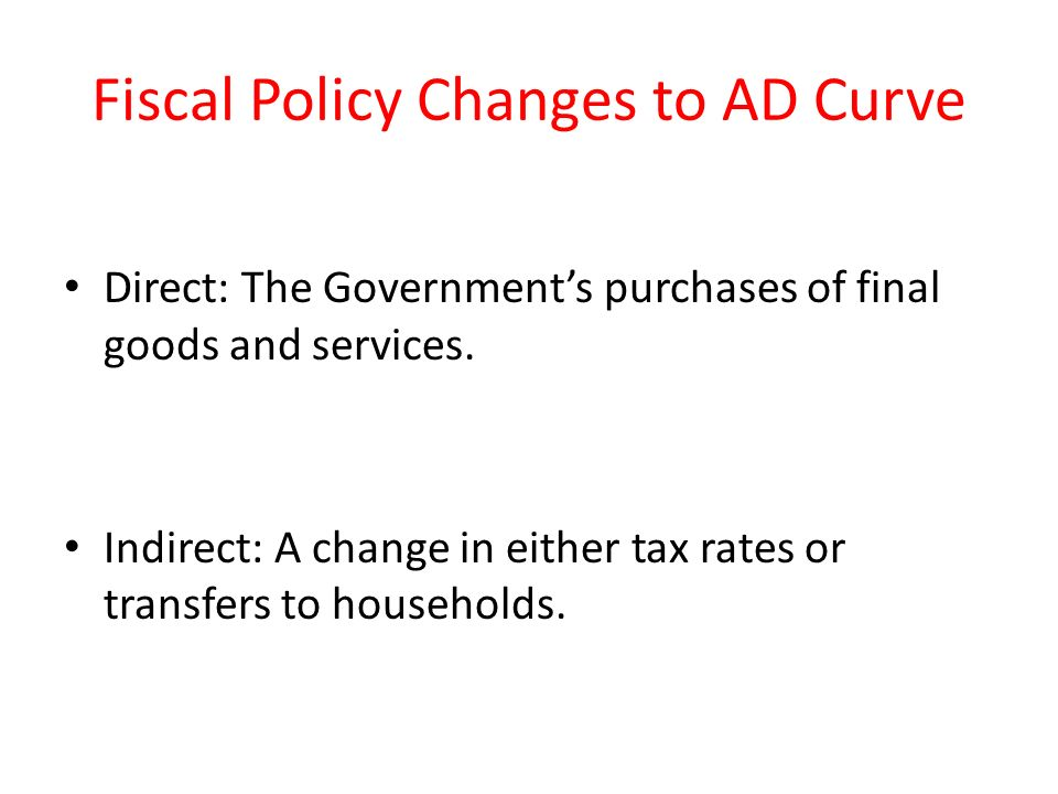 Fiscal Policy Changes to AD Curve