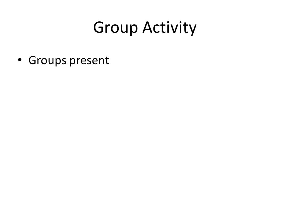 Group Activity Groups present