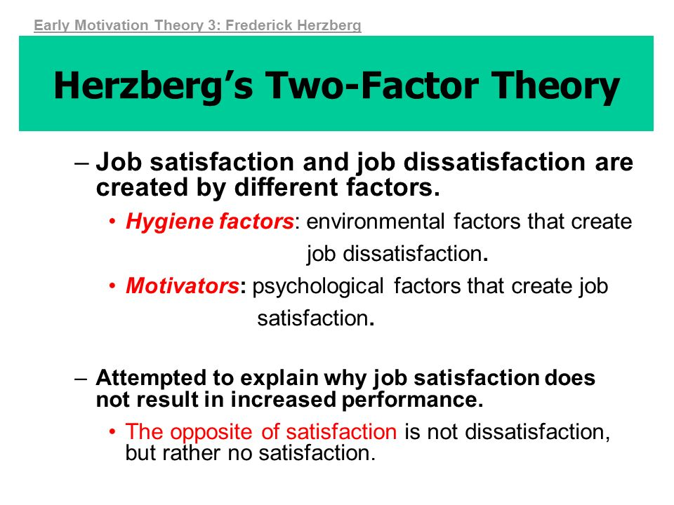 definition of herzberg two factor theory