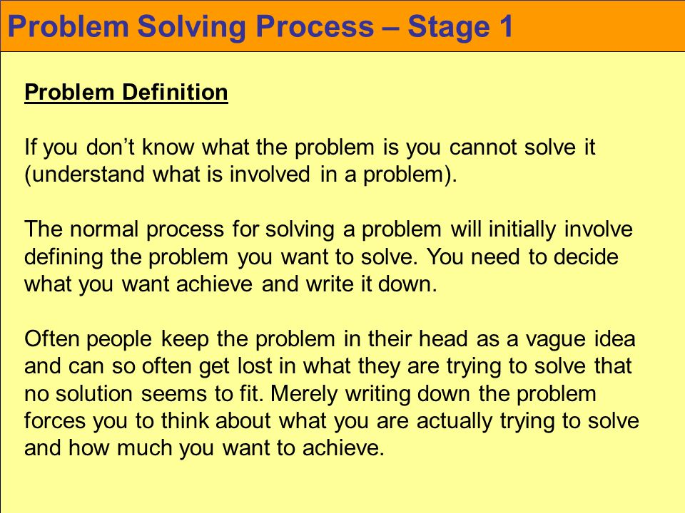 Problem Solving Process – Stage 1