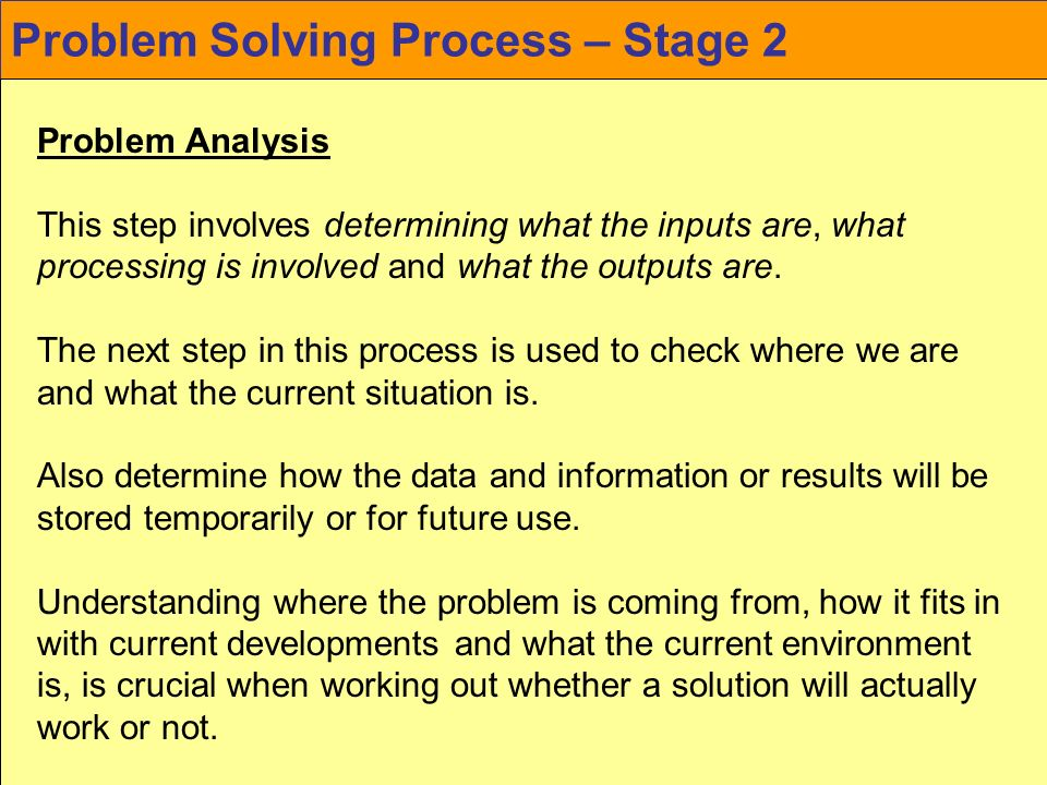 Problem Solving Process – Stage 2