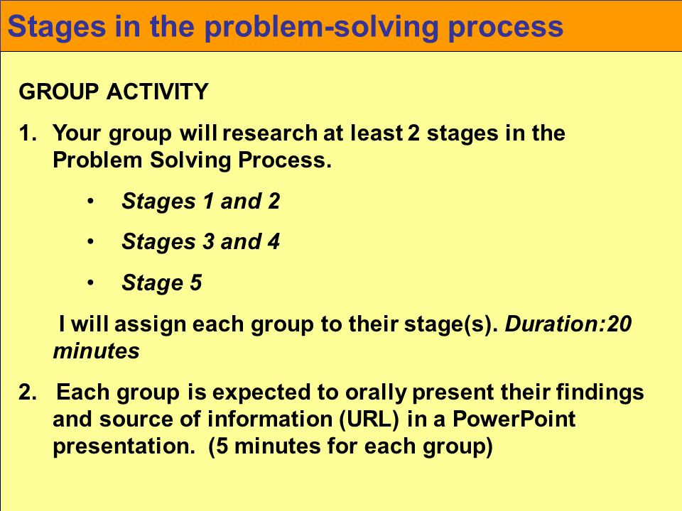 Stages in the problem-solving process
