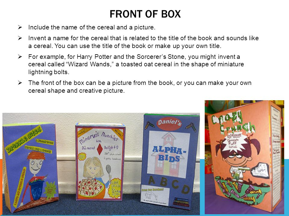 Cereal box book report ppt video online download front of box include the name of the cereal and a picture ccuart Image collections
