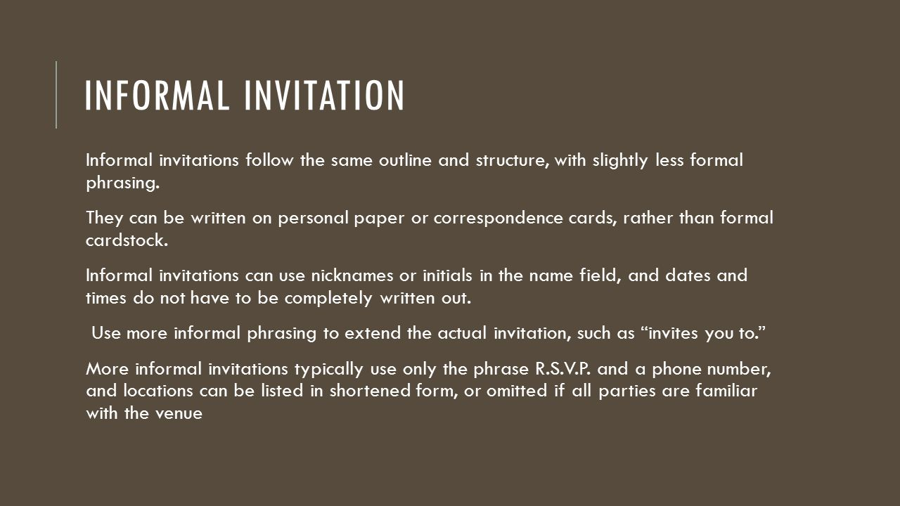 formal and informal invitation ppt download
