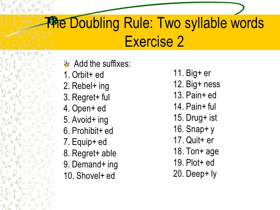 The Doubling Rule Two Syllable Words Exercise 2