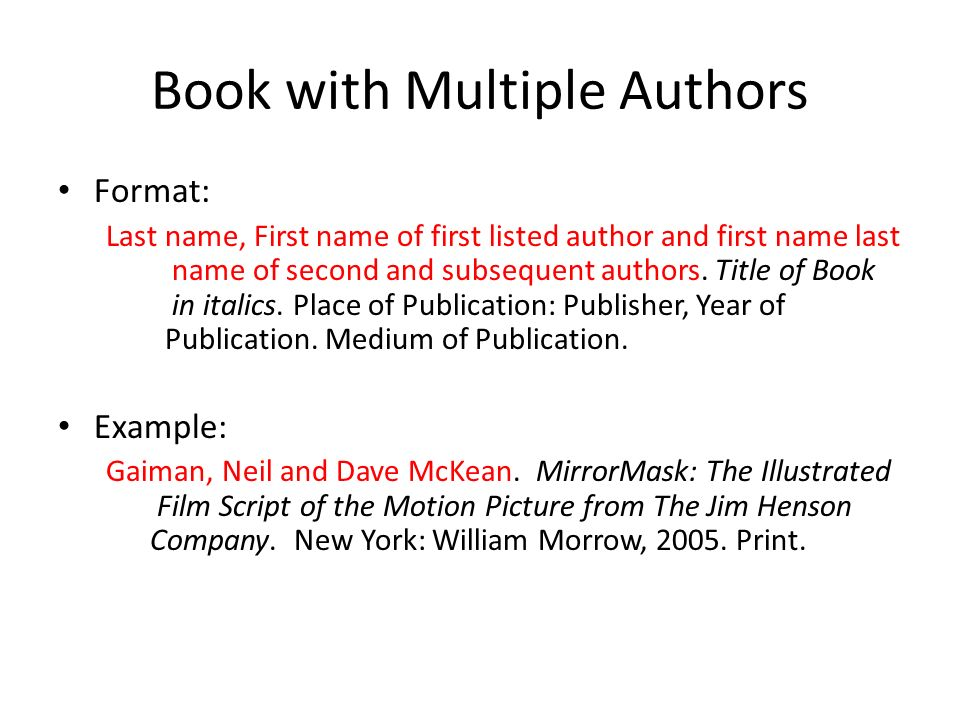 Mla bibliography book sources ppt video online download book with multiple authors ccuart Gallery