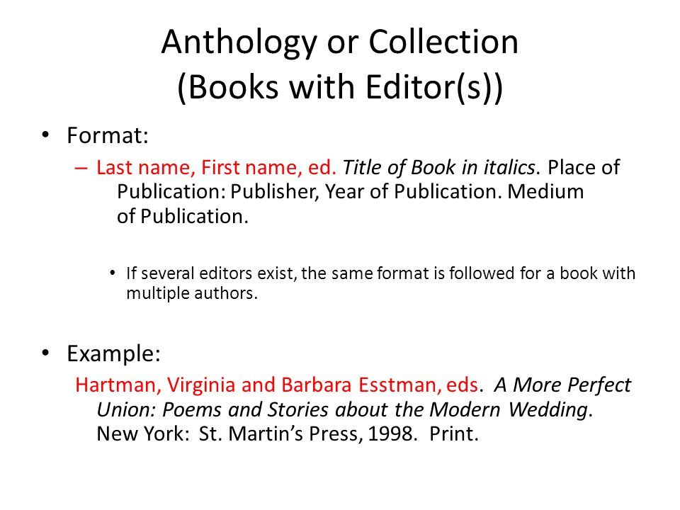 Mla bibliography book sources ppt video online download book with multiple authors 5 anthology ccuart Images