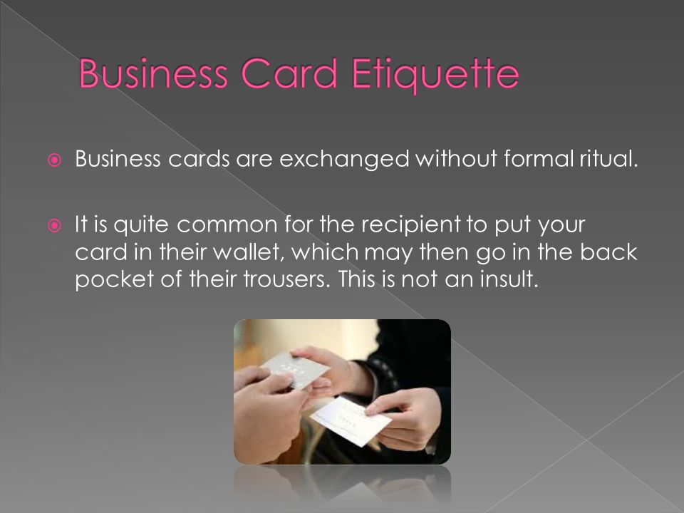 Usa business etiquette ppt video online download business card etiquette reheart Image collections