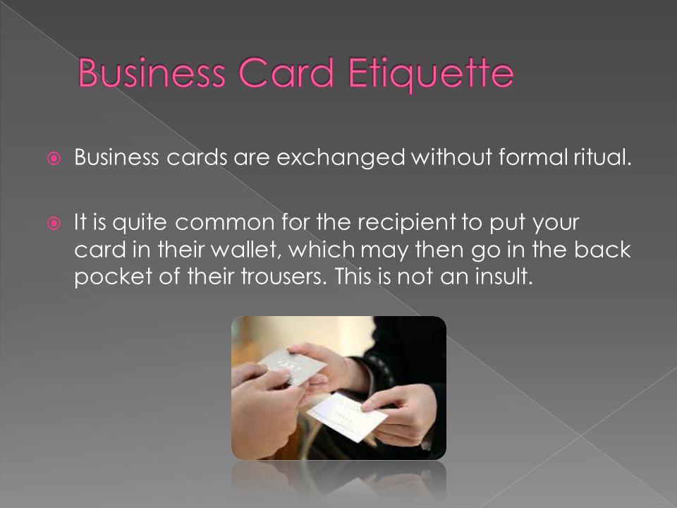 Usa business etiquette ppt video online download business card etiquette reheart Images