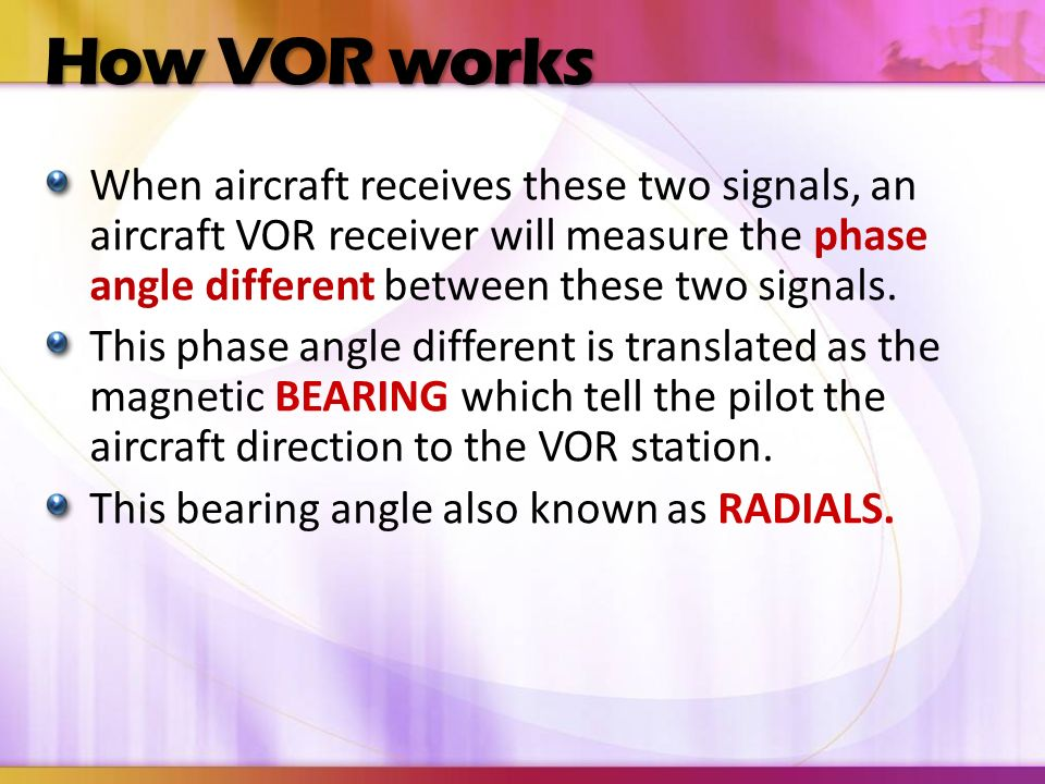 How VOR works When aircraft receives these two signals, an aircraft VOR receiver will measure the phase angle different between these two signals.