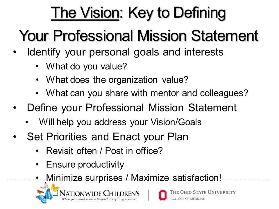 the vision key to defining your professional mission statement