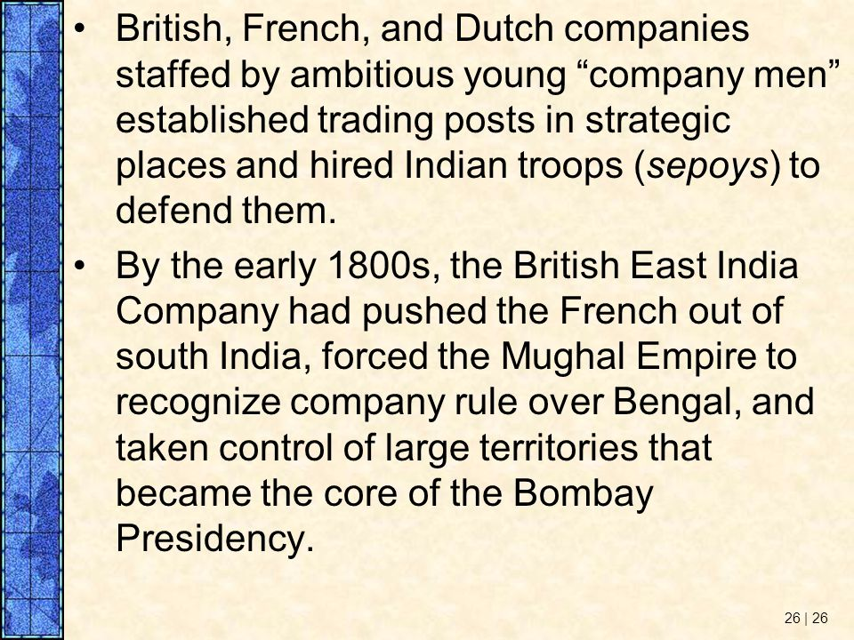 British, French, and Dutch companies staffed by ambitious young company men established trading posts in strategic places and hired Indian troops (sepoys) to defend them.