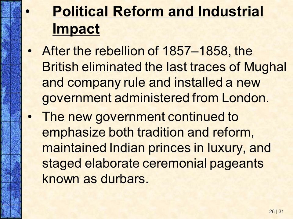 Political Reform and Industrial Impact