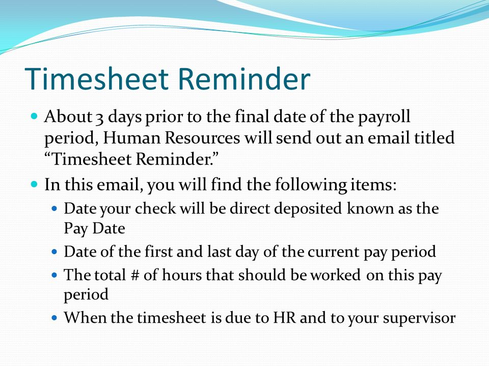 timesheets new employee learning aid
