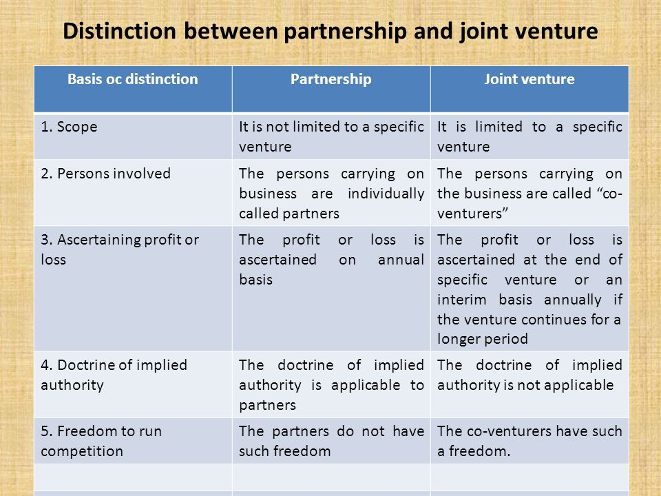 Difference between partnership and joint venture business