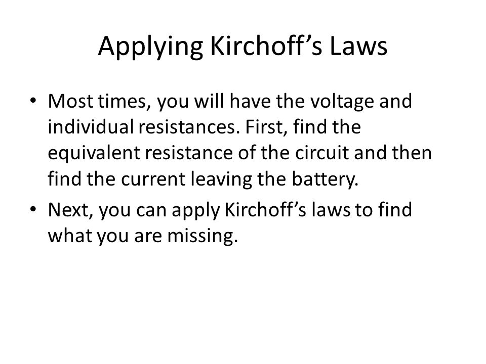 Applying Kirchoff's Laws