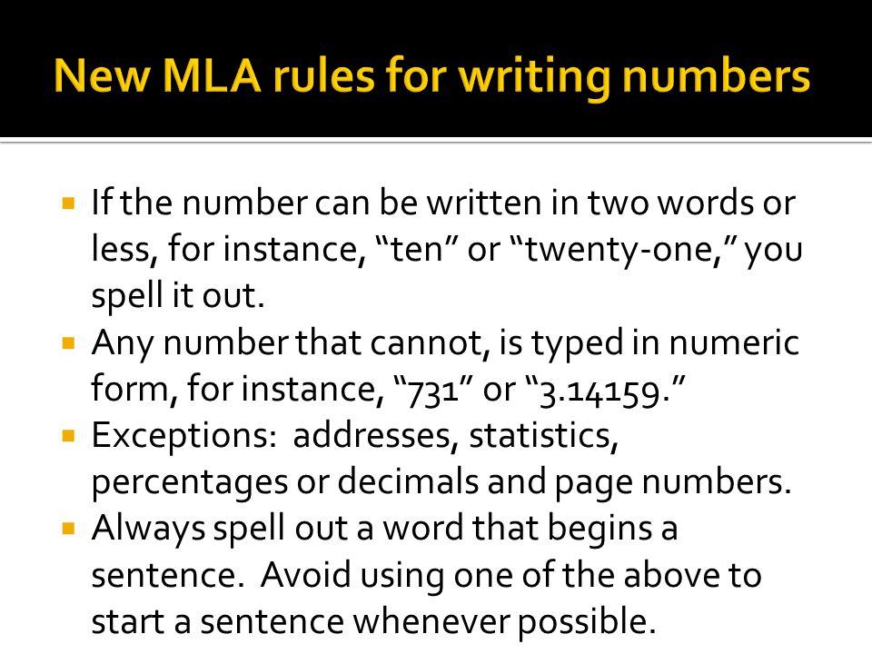 mla writing rules