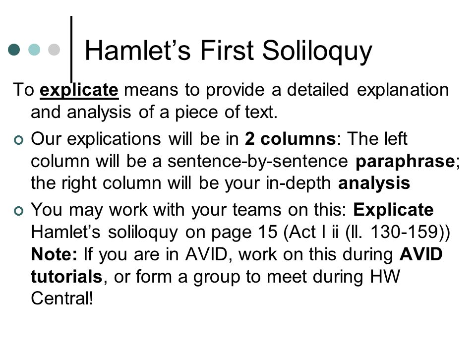 hamlets first soliloquy analysis